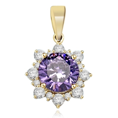 Designer Pendant with Round Amethyst Essence in center surrounded by Round Brilliant Diamond Essence and Melee. 4.5 Cts. T.W. set in 14K Solid Yellow Gold.