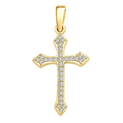 "Delicate Cross 1"" long with Diamond Essence, 0.50 ct. t.w.in Gold Plated Sterling Silver."