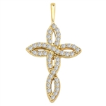 "Diamond Essence 1"" long Cross Pendant with delicate interwined design, 0.60 ct.t.w. in 14K Solid Gold."