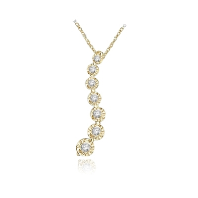 Diamond Essence Journey Pendant of 7 Round Brilliant Graduated Stones set in 14K Solid Yellow Gold. 5.0 Cts.T.W.