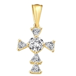 Diamond Essence 0.4 Ct Round Brilliant and 0.25 ct each Trilliant makes Designer Cross Pendant, 1.65 Cts.T.W. in 14k Solid Yellow Gold.