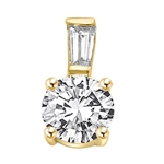 Diamond Essence Pendant with 2 Cts. Round Brilliant and  0.3 Ct. Tapered Baguette on bail,2.30 Cts.T.W. in 14K Solid Yellow Gold.