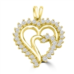 Diamond Essence Heart in Heart Pendant, 1.0 Ct.T.W. in 14K Solid Yellow Gold.
