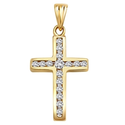 Diamond Essence Cross Pendant with Tension Set Round Brilliant Melee , 0.30 Ct.T.W. in 14K Solid Yellow Gold.