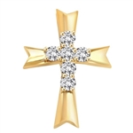Diamond Essence Cross Pendent with Round Brilliant Melee, 0.66 Ct.T.W.