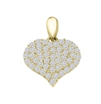 Diamond Essence delicate Heart Pendant with Pave set Melee. 1.30 Cts.T.W. in 14K Solid Yellow Gold.