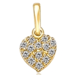 Little Heart for Children - Heart shape Pendant with cluster of Diamond Essence Melee, 0.15 Ct. T.W. set in 14k Solid Yellow Gold.