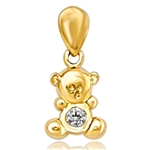 Teddy Bear Pendant with a Round Brilliant Diamond Essence, 0.06 Ct. T.W. set in 14k Solid Yellow Gold.