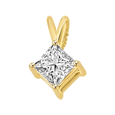 0.5ct wire basket setting princess cut stone in gold pendant