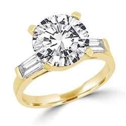 ring with 3.0 carat stone in center and baguettes on each sides