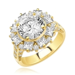 Classic Designer Ring with 3.0 Cts. Round Brilliant Diamond Essence Stone in the center, surrounded by 0.5 Ct. each Princess cut stones and round stones. Round melee set on band, makes it more artistic. 7.25 Cts.T. W. set in 14K Solid Yellow Gold.