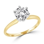 Solitaire ring with 2 carat stone set in two-tone