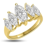 Diamond Essence Ring with 5 graduating Marquie Essence, appx. 2.5 Cts. T.W. set in 14K Solid Yellow Gold.