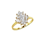 Honeysuckle Rose - 1 Ct. Marquise Cut Center stone with Baguettes and Round Accent Masterpieces. 1.3 Cts. T.W. in 14K Solid Gold.