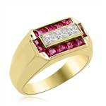 Man's Ring with 0.75 cts, Radiant Square Diamond Essence Center Stones surrounded by 1.0 cts. Princess Cut Ruby Essence, channel set in 14k Solid Yellow Gold.