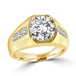 Impressive Ring for Men.  2.75 Cts. T.W with 2 Cts. Brilliant White Center and Channel Set accents squiring each side, in 14K Solid Gold.