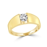 14K Solid Yellow Gold  ring with 1.0 carat round brilliant stone.