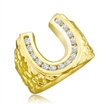 Fall in love with this charming horseshoe design ring with 0.75 Cts. Diamond Essence nuggets set in artistic band set in 14K Solid Yellow Gold.