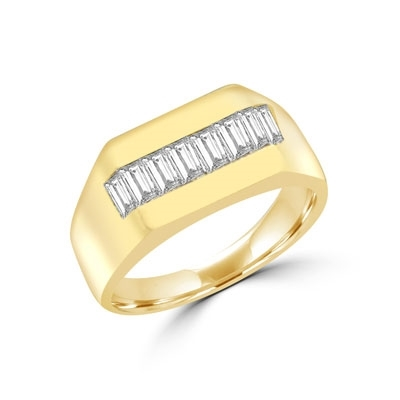 14K Solid Yellow Gold man's ring, 1.5 cts.t.w. to set off a powerful band of baguettes.