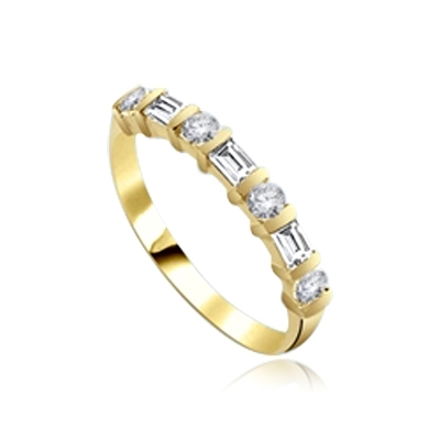 Delicately dazzling Band with Baguettes ring 14K Solid Yellow Gold
