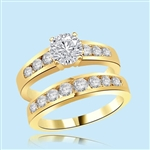 1carat round diamond yellow gold wedding ring set