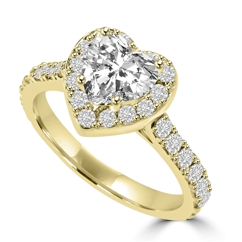 Diamond Essence 1 Ct. Heart In Four Prongs And Surrounded By Melee, 2.50 Cts.T.W. In 14K Solid Yellow Gold.