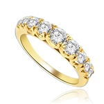 Designer Band with Beautifully set Graduating Round Diamond Essence. 1.10 Cts T.W. set in 14K Solid Yellow Gold.