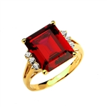 Superb Ring with 5 Cts Emerald Cut Ruby Essence Center Stone and melee accents for a total of 5.2 Cts.t.w. in 14K Solid Gold.