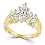 Glowing Ring with 1 Ct. Marquise Center and Baguette accents, 2 Cts. T.W, in 14K Solid Gold.