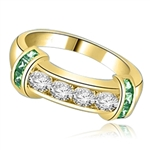 Brilliant channel-set Diamond Essence diamonds with a bar of Emerald Essence on either side. 1.35 cts. T.W. set in 14K Solid Yellow Gold.