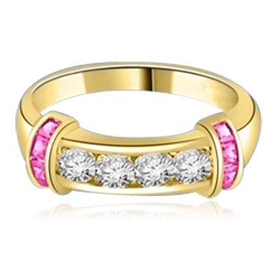 Brilliant channel-set Diamond Essence diamonds with a bar of Ruby Essence on either side. 1.35 cts. T.W.  set in 14K Solid Yellow Gold.