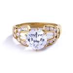 round center stone & round baguette accents on gold vermeil ring