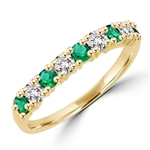 Ring with 14k solid gold 1.2 cts.t.w. Emerald stones