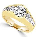 14K Solid Yellow Gold  ring with 2.0 ct. center stone, with round stones down the sides. 3.5 cts.t.w. (Also available in Platinum Plated Sterling Silver, Item#SRD1509 / 14K Gold Vermeil, Item#VRD1509).