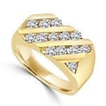 14K Solid Yellow Gold man's ring with round Diamond Joy stones, total 14, in three rows, 1.5 ct. t.w.