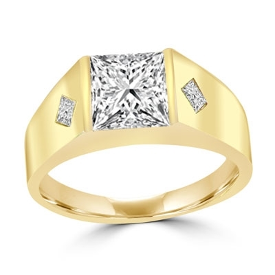 14K Solid Yellow Gold  man's wide ring with a hefty channel-set 1.25 ct. Square cut masterpiece and twin satellites inlayed below in the wide gold band. 1.35 cts. t.w.