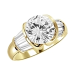 Majestic Ring - You will fall in love at first sight for this Materpiece with a heavy set 3 cts. Round Brilliant Center encircled by baguette accents onthe band! 5 Ct. t.w. in 14K solid gold.