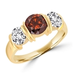 Diamond Essence designer ring with 1.0 ct. Chocolate Essence center and 0.5 ct. Round Brilliant stones on each side, 2.0 cts. T.W. set in 14K Solid Yellow Gold.