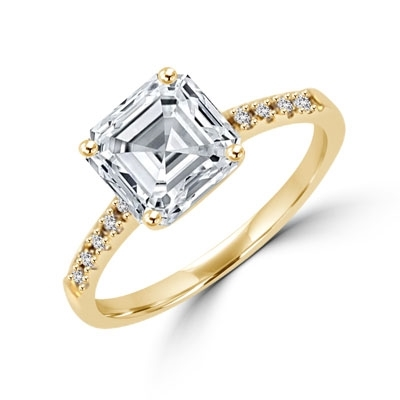 Diamond Essence Designer ring with 2.0 ct. Asscher cut Diamond Essence center with round stones on band, 2.10 Ct. T.W. set in 14K Solid Yellow Gold.