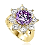 Designer Ring with 3.5 CTs. Round Lavender Essence in center surrounded by Princess Cut Diamond Essence and Melee, making a Beautiful Floral Design. 6.5 Cts. T.W. set in 14K Solid Yellow Gold.