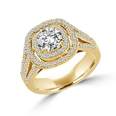 Diamond Essence Designer Ring With 1 Ct. Round Brilliant Center Surrounded By Melee And Three Rows Of Melee On the Band Enhance the Beauty, 2.50 Cts.T.W. In 14K Solid Yellow Gold.