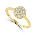Diamond Essence Ring with Brilliant Melee In Circular Pave Setting, 0.20 Ct.T.W. In 14K Solid Yellow Gold.