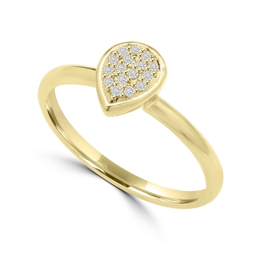 Diamond Essence Delicate Ring With Brilliant Melee in Pear Shape Setting, 0.10 Ct.T.W. In 14K Solid Yellow Gold.
