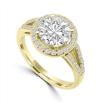 Diamond Essence Halo Setting Designer Ring with 2 Cts. Round Brilliant Center and Melee Around It and On The Band, 2.50 Cts.T.W. In 14K Yellow Gold.