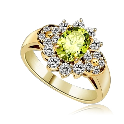 Floral Ring - 1.25 Cts. Oval cut Peridot Essence set in center with Round brilliant Diamond Essence on top and bottom and cluster of Melee, making floral design, on either side of band. 2.0 Cts. T.W. set in 14K Solid Yellow Gold.