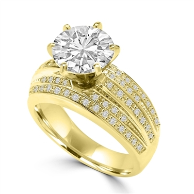Diamond Essence 3 Cts. Round Brilliant Center Stone In Six Prongs Setting And Delicate Melee In Five Rows, 3.50 Cts.T.W. In 14K Solid Yellow Gold.