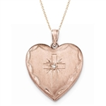 Sterling Silver Rose Gold-plated 24mm length an width with 0.01 ct. Diamond Essence Melee. Cross Design Family Heart.