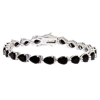 A beautiful bracelet, showing off 21 pear shape Diamond Essence Onyx stones, 0.75 ct. each, set in Platinum Plated Sterling Silver. 15.75 cts.t.w.