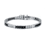 Diamond Essence and Onyx princess cut tennis bracelet, each stone of 0.20 ct. set in alternate group of 5 stones. 10.4 cts.t.w. in Platinum Plated Sterling Silver.