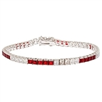 Diamond Essence and Ruby Essence princess cut tennis bracelet, each stone of 0.20 ct. set in alternate group of 5 stones. 10.4 cts.t.w. in Platinum Plated Sterling Silver.